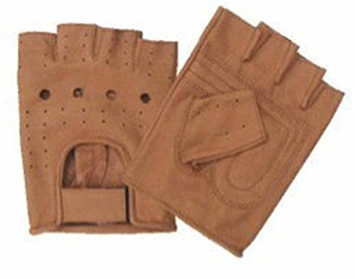 Allstate Leather Brown Leather Fingerless Motorcycle Gloves with Vented Back L Brown