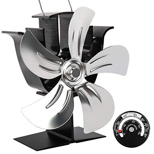 LUMAMU 5-Blatt-Ofenventilator Holzofenventilatoren Kaminventilator Wärmebetrieben mit Magnetthermometer Aluminium Umweltfreundlich für Holzkaminofen Kamin-Silber