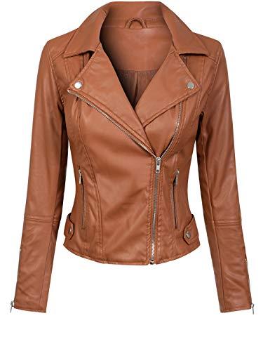Design by Olivia Women's Faux Leather Jacket Long Sleeve Moto Biker Outwear PU Coat Jacket Cognac M