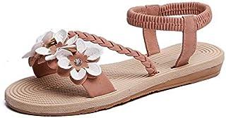 Summer Shoes Woman Sandals Elastic ankle strap Flat Sandalias Flowers Gladiator Beach Sandals Ladies Flip Flops Simple elegant sandals and slippers (Color : Pink, Shoe Size : 8.5)