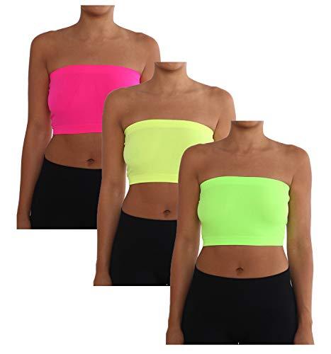 Aeko Damen Kombi-Packung Trägerloser Basis-BH Bandeau nahtlos Schlauchoberteil Regular und Übergrößen, Damen, Neon Pink-neon gelb-neongrün, Regular 2-8