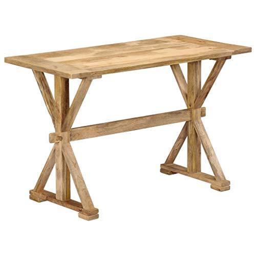 vidaXL Mangoholz Massiv Esstisch mit X-Frame Beinen Landhaus Küchentisch Holztisch Esszimmertisch Speisetisch Massivholztisch Tisch 140x70x76cm