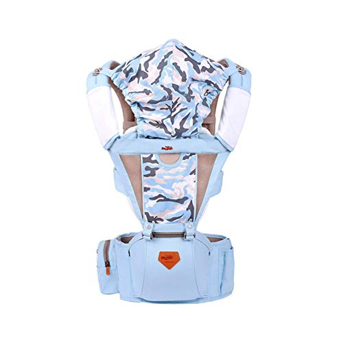 Baby Carrier with Windproof Cap Soft Breathable Baby Wrap Backpack with Hip Seat Adapt to Infant Hiking Backpack Carrier for Best Baby Gift-Quietblue