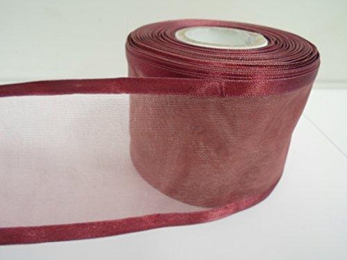 Beautiful Ribbon 1 Rouleau de 70 mm 7cm avivés Ruban Organza x 25 mètres vin Double Face Satin Edge Pure 70 mm