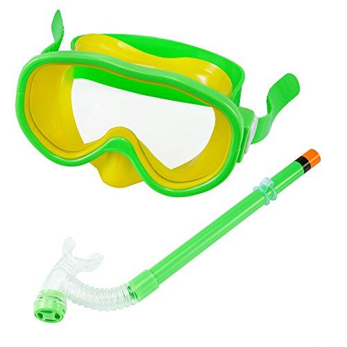 Kids/Children Snorkel Set Swimming Goggles SemiDry Snorkel Equipment for Boys and Girls Junior Snorkeling Gear Age 5 Plus Green