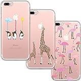 [3 Pack] Funda iPhone 7 Plus, Funda iPhone 8 Plus, Funda de Silicona Blossom01 Ultra Suave Funda TPU Silicona con Dibujo Animado Lindo Para iPhone 7 Plus / 8 Plus - Flamingo & Jirafa & Pingüino
