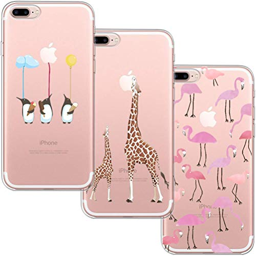 [3 Pack] Funda iPhone 7 Plus, Funda iPhone 8 Plus, Funda de Silicona Blossom01 Ultra Suave Funda TPU Silicona con Dibujo Animado Lindo Para iPhone 7 Plus / 8 Plus - Flamingo & Jirafa & Pingüino
