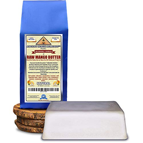 Organic Unrefined Raw MANGO BUTTER 1 LB (16 oz) BLOCK Bulk, Light Mango Aroma, Non-Greasy Base for Beauty, Skin Moisturizing, DIY Base for Body Butters & Hand Cream (INDIA)