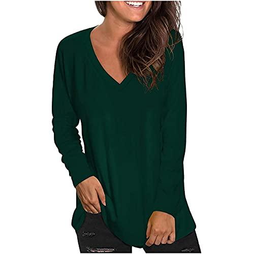 neiabodos Blusa elástica para mujer, camiseta informal de manga larga con cuello en V y bolsillos, color liso, Verde3, L
