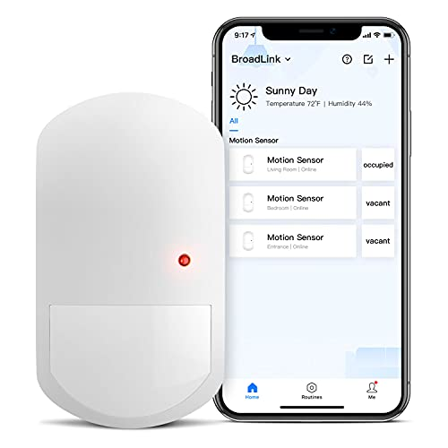 BroadLink Smart Motion Sensor, Hub Required, Home Automation WiFi 2.4GHz PIR, Occupancy Sensor for Lighting, Device Triggering, Notification, Compatible with Alexa, Google Home, IFTTT (Motion Sensor)