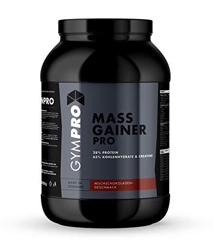 GymPro - Weight Gainer Professional (Schokolade, 2500g), Masse Shake mit Protein, Kohlenhydrate (Maltodextrin, Dextrose) und Aminosäuren + Kreatin - Carbs und Whey Kalorienshake für Gewichtszunahme