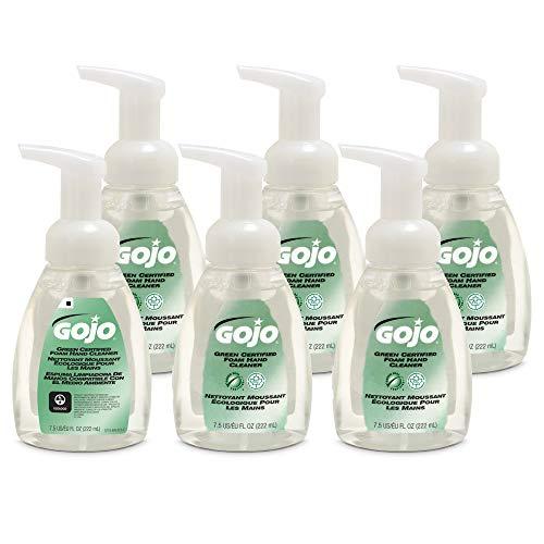 GOJO Green Certified Foam Hand Cleaner, EcoLogo Certified, 7.5 fl oz Foaming Soap Pump Bottles (Pack of 6) - 5715-06