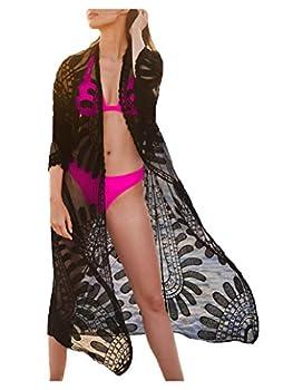 Wander Agio Womens Bikini Loose Cover Ups Beach Casual Dress Coverup Swimsuits Long Cardigan Fishnet Embroider Flower Black 23