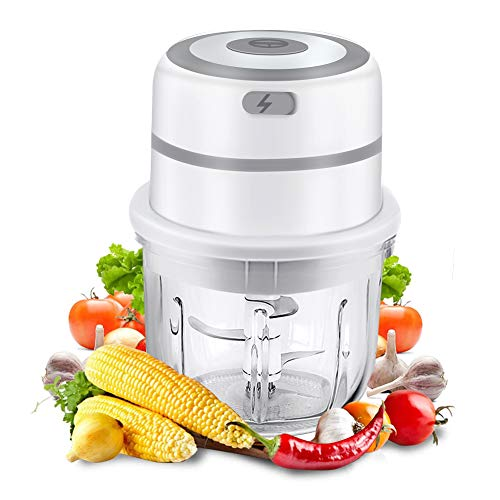 Gintan Mini Picadora de Alimentos Eléctrica,Picadora Eléctrica Picador De Ajo con 300ML Recipiente de Vidrio Trituradora de Alimentos para Cocina y Alimentos para Bebés Mini Triturador