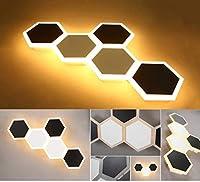 ウォールライトLEDウォールライト屋内の壁の照明現代の幾何学的なデザインライト壁ランプアクリルナイト装飾壁取り付け用燭台ベッドルームリビングルーム読書ランプホールベッド回廊、3000Kウォームホワイト6W(六角)、リビングルームベッドルームライトアイプロテクションライト