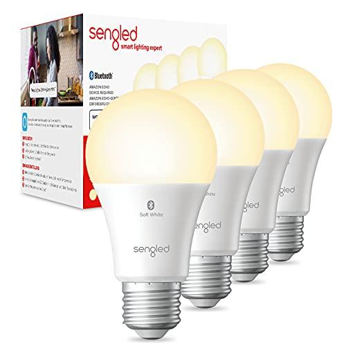 Sengled Alexa Glühbirnen, E27 Smart Glühbirne, 8.8W Glühbirne für Alexa und Echo Dot, Bluetooth Smart Lampe E27 Dimmbar, Warmweiß 60W Äquivalent 2700K, 806LM, 4 Stücke [Energieklasse A+]