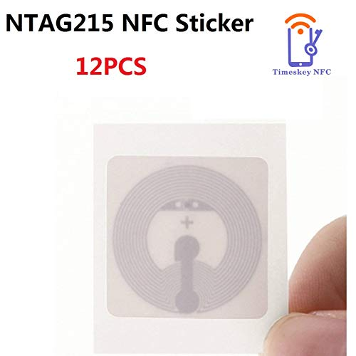 12PCS NFC Tags Sticker NTAG215 1 inch Diameter Square White Blank NTAG 215 NFC Tag Compatible with Amiibo and Tagmo, Compatible with All NFC Enabled Phone by TimesKey