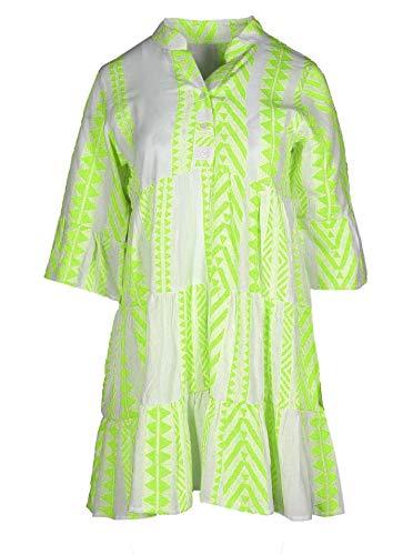 Zwillingsherz Sommerkleid im Ibiza Design – Hochwertiges Partykleid für Damen Frauen Mädchen - Strandkleid Kurzkleid - Locker luftig - OneSize - Perfekt für Frühling Sommer und Herbst - grün
