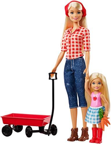 Barbie GCK84 - Farm Barbie i Chelsea lalka z czerwonym ciągnącym wózkiem i akcesoriami, lalkami i akcesoriami dla lalek od 3 lat
