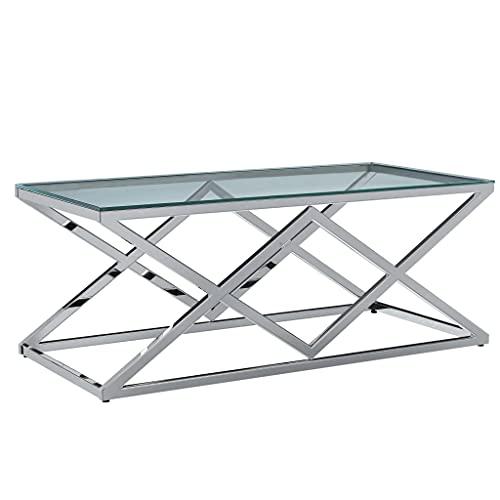 Cikonielf Tavolino Trasparente,Tavolini da caffè Quadrato,Tavolino Basso da Salotto,Tavolini da caffè Quadrato,Telaio con Design Incrociato,Vetro Temperato e Acciaio Inox,120x60x45cm