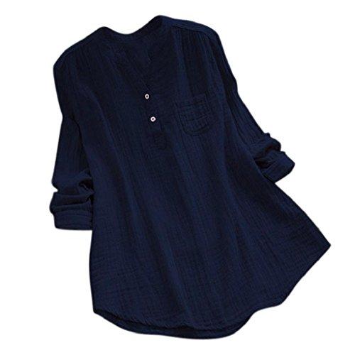 YEBIRAL Damen Bluse Lose Einfarbig Große Größen V-Ausschnit Langarm Leinen Lässige Tops T-Shirt Bluse S-5XL(EU-40/CN-L,Marine)