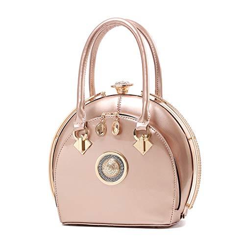 NIYUTA Damenhandtaschen Lackleder Diamant Mode Shopper Reise Designer Freizeit Vintage Henkeltaschen (Champagner)