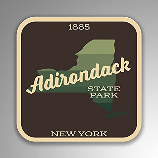 JMM Industries Adirondack State Park New York Vinyl Decal Sticker Retro Vintage Look 2 Pack 4 Inches By 4 Inches Premium Quality UV Protective Laminate SPS403