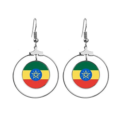 Ethiopië Nationale Vlag Afrika Land Oorbellen Dangle Hoop Sieraden Drop Cirkel