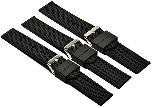 Silikon Uhrenarmband Taucher Armband Schwarz mit Reifen Profil 20-24mm Uhrband 22mm