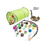 21 jouets économiques pour chats: 21 pièces pour chats avec un tunnel pour chat escamotable, une baguette magique pour chat, un jouet à plumes interactif, une souris duveteuse, des balles froissées, etc. cadeau d'anniversaire pour vos chats. Jouets d...