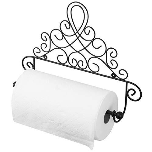 MyGift Black Metal Scrollwork Design Wall Mounted Paper Towel Holder