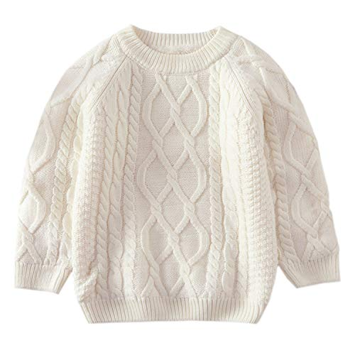 Baby Boys Girls Cable Knit Pullover Sweater Fleece Lined Vintage Warm Sweatshirt White