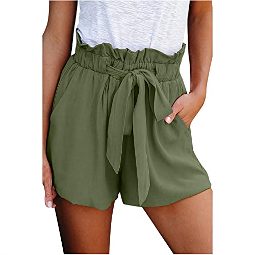 Shorts for Women high Waisted Ruffle Casual Shorts Elastic Waist Front Pockets Army Green