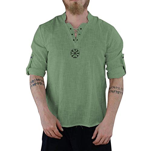 Best Prices! XQXCL Cotton Linen Shirt Men Summer New Solid Color Leisure Short Sleeve Top Green
