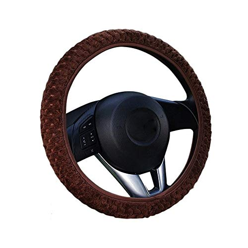 Auto-accessoires Auto Steering Wheel Cover Car-styling Universal Winter zachte warme pluche Covers Anti-Slip auto decoratie ZHQHYQHHX (Color : Brown, Size : FEER)