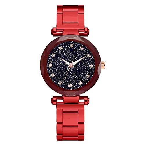 DECTN Reloj de Pulsera Fashion Diamond Starry Sky Watch Stainless Steel Quartz Wriswatch Ladies Female Luxury Elegant Watches
