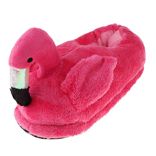 Baoblaze Plüsch Hausschuhe Damen Mädchen Flamingo Pantoffeln Tierhausschuhe für Winter Herbst Weihnachten Neujahr - Rosa, Volle Hausschuhe