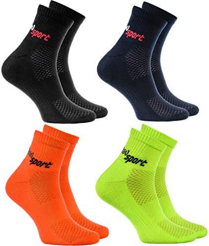 Rainbow Socks - Hombre Mujer Calcetines de Deporte Neon - 4 Pares - Negro Azul Naranja Verde - Talla UE 44-46
