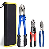 KOTTO Bolt Cutter Pliers Set Industrial Heavy Duty Soft Rubber 14' and Mini 8' Bolt Cutters, 8' High Leverage Cable Cutter with Carrying Case Easily Cut Locks, Barbed Wire, Thick Wire