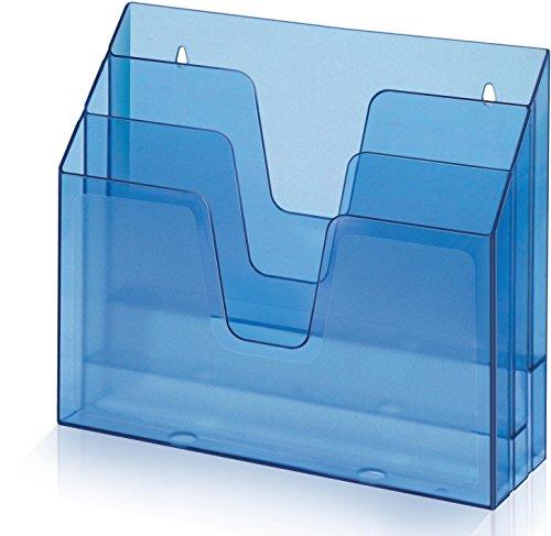 Acrimet Organizador Horizontal con 3 Compartimientos para Escritorio o Pared (Plástico) (Color Azul Transparente)