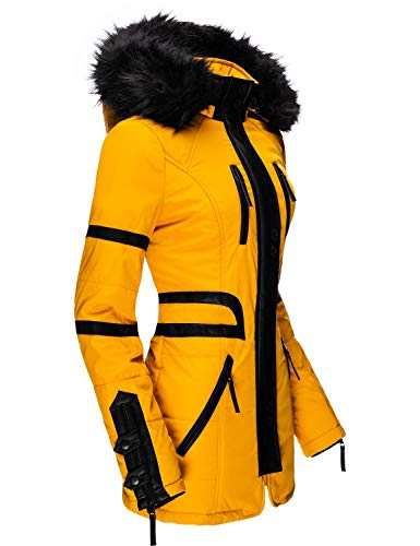 Navahoo Damen Mantel Winterjacke Kurzmantel Moon Yellow Gr. M