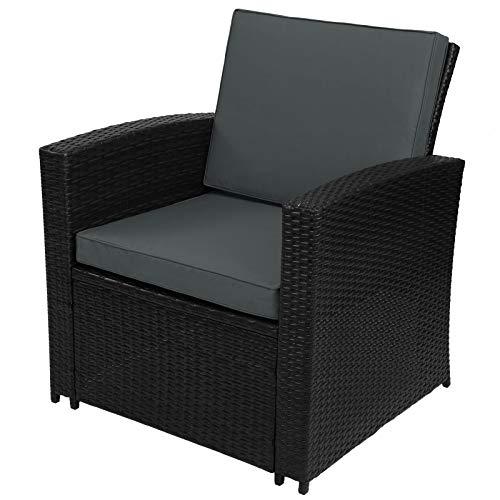 Montafox 12-teilige Polyrattan Sitzgruppe 4 Personen 5 cm Sitzpolster Tisch Balkonmöbel Set Sitzgarnitur Schwarz, Farbe:Titan-Schwarz/Nachtschwärmergrau - 6