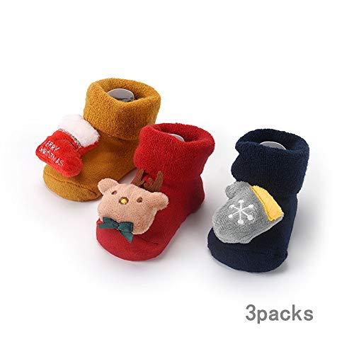 ZMLAU Kerst Sokken,3 Paar Winter Baby Katoen Sokken Kinderen Kerstmis Enkel Sokken Ingebouwde Klokken, 3D Kerst Patroon Voor Hem (Of haar),L
