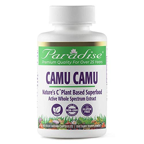 Paradise Organic Camu Camu - Nature's C - 20% Vitamin C - Concentrated Extract - 100% Naturally Extracted - No Harsh Chemicals or Solvents