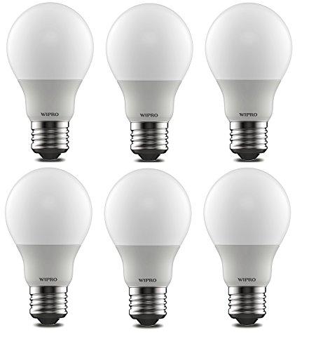 Wipro Polycarbonate Garnet Base E27 5-Watt Led Bulb (Pack of 6, Cool Day Light)