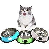 DMSL Cuenco para Gato Antideslizante 3 Piezas, Comederos de Acero Inoxidable Tazón de Gatos para Agua Comida, Comederos y Bebederos para Gatitos Cachorros Conejos Mascotas Animales Pequeños