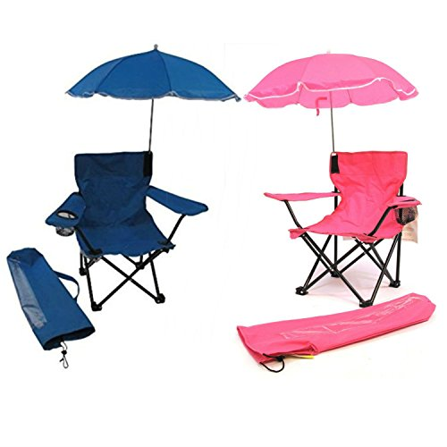 Redmon for Kids Beach Baby Kids Umbrella Camp Chair (Combo of Blue and Hot Pink)
