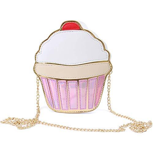 Umhängetasche Cupcake INTVN Kuchen Crossbody Geschenk für Mädchen Schultertasche,Mädchen Kindertasche aus PU-Leder mit süßem,Cartoon Tasche,Umhängetasche