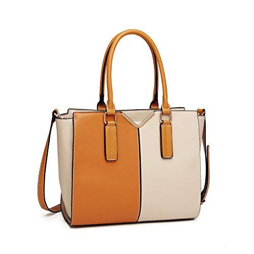 Miss Lulu Elegant Handtasche Damen Schultertasche Umhängetasche Stillvoll (Beige)