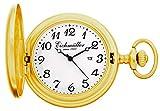 Eichmüller 35165 - Orologio da taschino con catena, analogico, con datario, al quarzo, oro giallo opaco